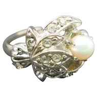 Cultured pearl Cocktail RinG Adjustable size 6 - 8