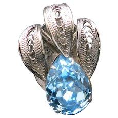 Big rhinestone Ring Powder blue Silver tone Adjustable