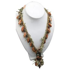 Funky Fringe necklace Coral color beads