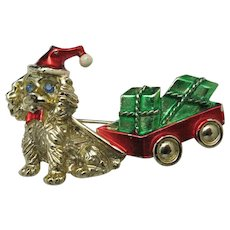 Christmas pin Puppy Gifts Vintage Dog