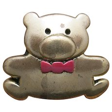 Teddy Bear Pin Gold tone Red Bow tie