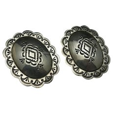 Sterling silver Concho earrings Pierced