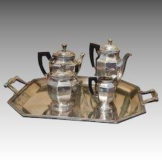 CHRISTOFLE tea set Colbert Tray sugar creamer pots Silver plated FRANCE
