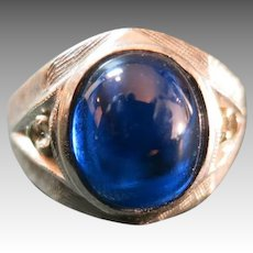 Men's White gold ring 10 Karat RETRO Blue stone