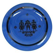 Alumina Denmark Decorative Plate Blue Pottery Large Figures