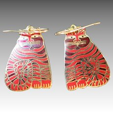 Laurel Burch Cat earrings Red enamel Pierced