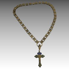 Antique Book chain necklace Enamel Cross Circa 1900
