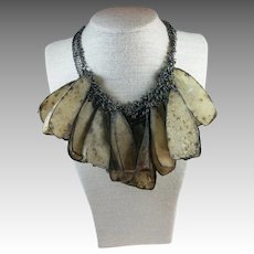 Bold Statement necklace Long chain Paper Dangles