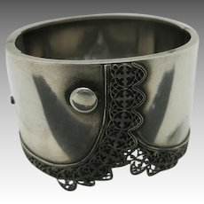 VICTORIAN silver bracelet wide Formal lace cuff