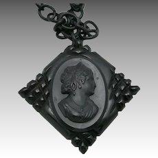 Black Cameo necklace Bakelite Pendant Celluloid chain