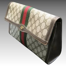 Gucci Purse Logo fabric Red Green stripe Seventies