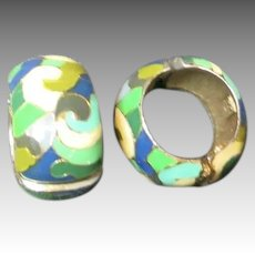 Eisenberg Enamel Earrings Hoops Enamel abstract green