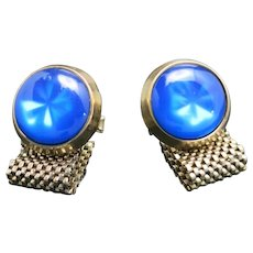 Blue Cufflinks Gold tone metal Wrap around