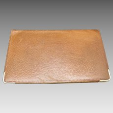 a89a95289e00 Openslate Collectibles.  125 USD. Leather Wallet 14 Karat Yellow GOld  accents vintage