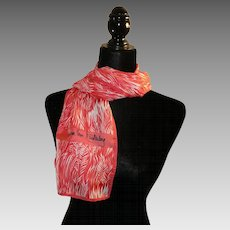 Silk Scarf DVF Oblong red white Eighties