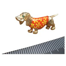 Charming dog pin Vintage wearing a sweater