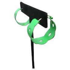 Kelly green earrings Pierced HOOPS VIntage Seventies