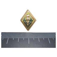 THISTLE pin Scottish GOld tone enamel