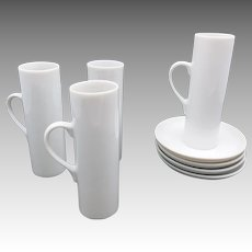 espresso CUPS and Saucers MODERNIST White Porcelain