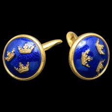 Swedish cufflinks tre kronor Blue enamel Sporrong