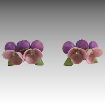 Lilac shell earrings florida souvenir Hand made