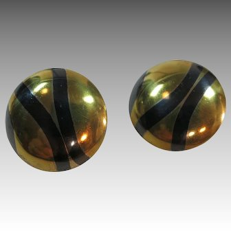 Mixed metals earrings Sterling silver brass Dramatic Eighties style