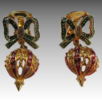 Christmas ornament Earrings Shiny Rhinestones