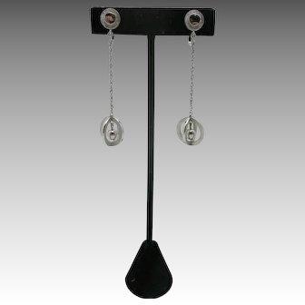 trifari dangle earrings Clip ON Cool Silver tone Seventies