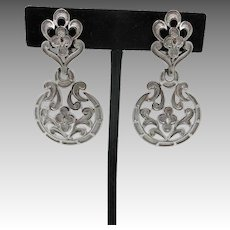 Trifari silver tone Earrings LARGE clip On Seventies