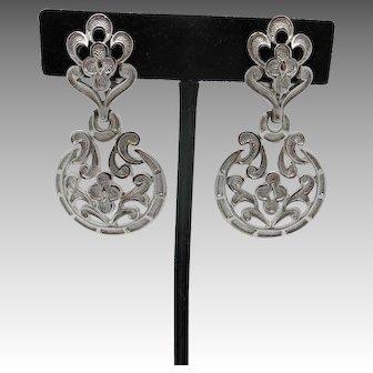 Trifari silver tone Earrings LARGE clip On Seventies