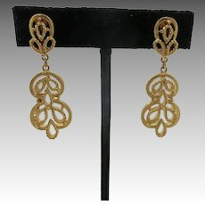 Trifari earrings arabesque Large GOld tone dangles