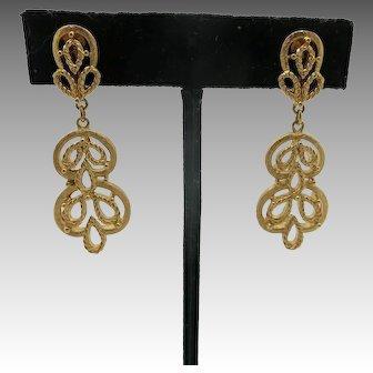 Trifari earrings arabesque Large GOld tone dangles