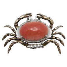 Crab pin Sterling silver Art glass stone Cancer 1940's