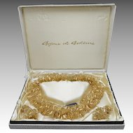 Bohemian glass necklace Vintage Beads in Box Bijoux de Boheme Gold tube