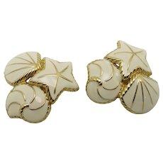 Trifari earrings gold tone metal clip on Shells