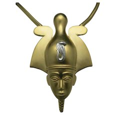 Trifari necklace Large PharaohKing tut gold tone