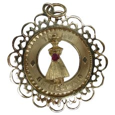 Bridesmaid Charm 14 Karat Yellow Gold RUBY
