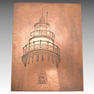 Evanston Lighthouse Original copper etching printing plate