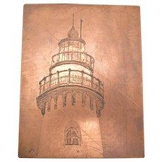 Evanston Lighthouse Original copper etching printing plate