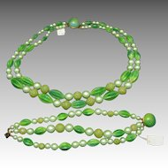 Green glass Necklace Bracelet Demi NOS Variety of beads