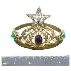 Antique Tiara Mardi Gras COlors Purple green Gold