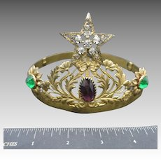 Antique Tiara Mardi Gras COlors Purple green Gold