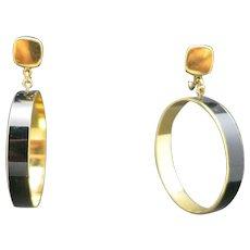 Trifari earrings Clip on HOOPS gold tone BLACK enamel