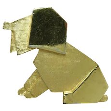 trifari Dog pin GOld tone