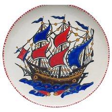 Kaiki boat Enamel Plate Greek Ship Souvenir