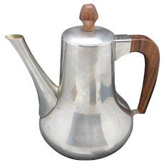 Pewter tea pot MCM stainless steel Teak Scandinavian