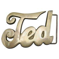 Brass Belt Buckle TED Leather Belt Vintage