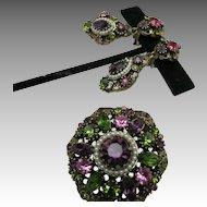Rhinestone dangle earrings Pin  Goldette hollycraft