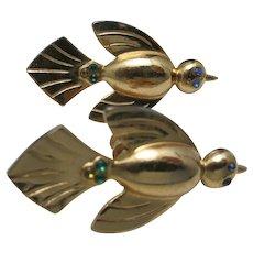 Bird earrings CORO gold tone Rhinestones Screw on