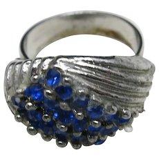 Blue rhinestone ring Silver tone Adjustable PAVE